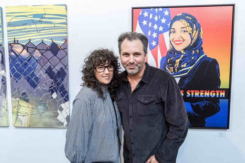 """hare LA Executive Director Cheyanne Sauter with NOT REAL ART Grant founder Scott """"Sourdough"""" Power"""
